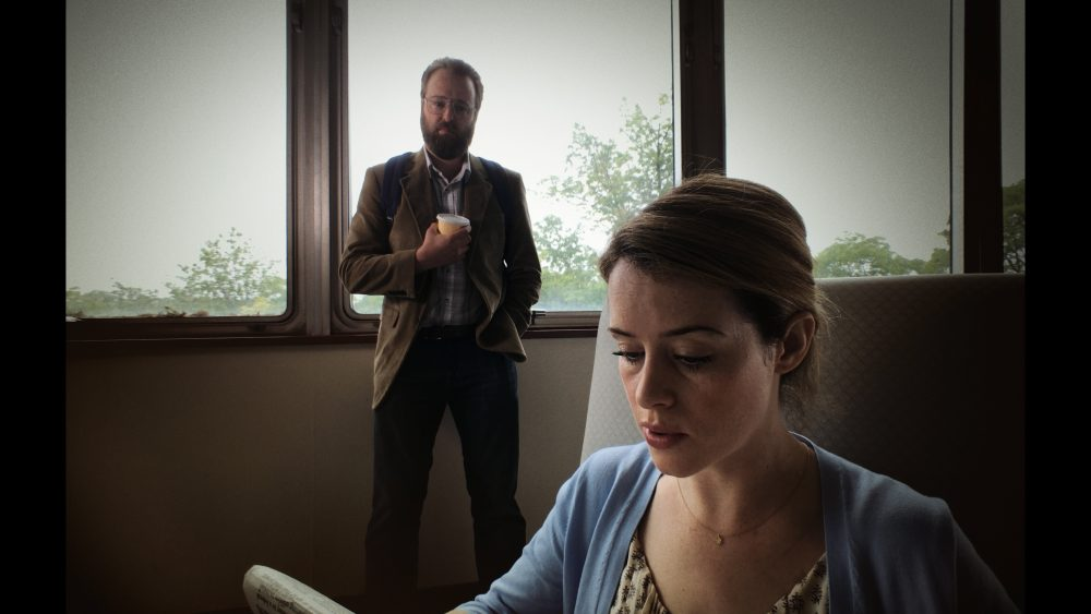 "Joshua Leonard as David Strine and Claire Foy as Sawyer Valentini in ""Unsane."" (Courtesy Fingerprint Releasing/Bleecker Street)"