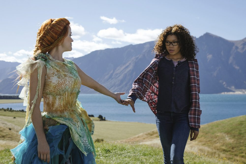 "This image released by Disney shows Reese Witherspoon, left, and Storm Reid in a scene from ""A Wrinkle In Time."" (Atsushi Nishijima/Disney via AP)"