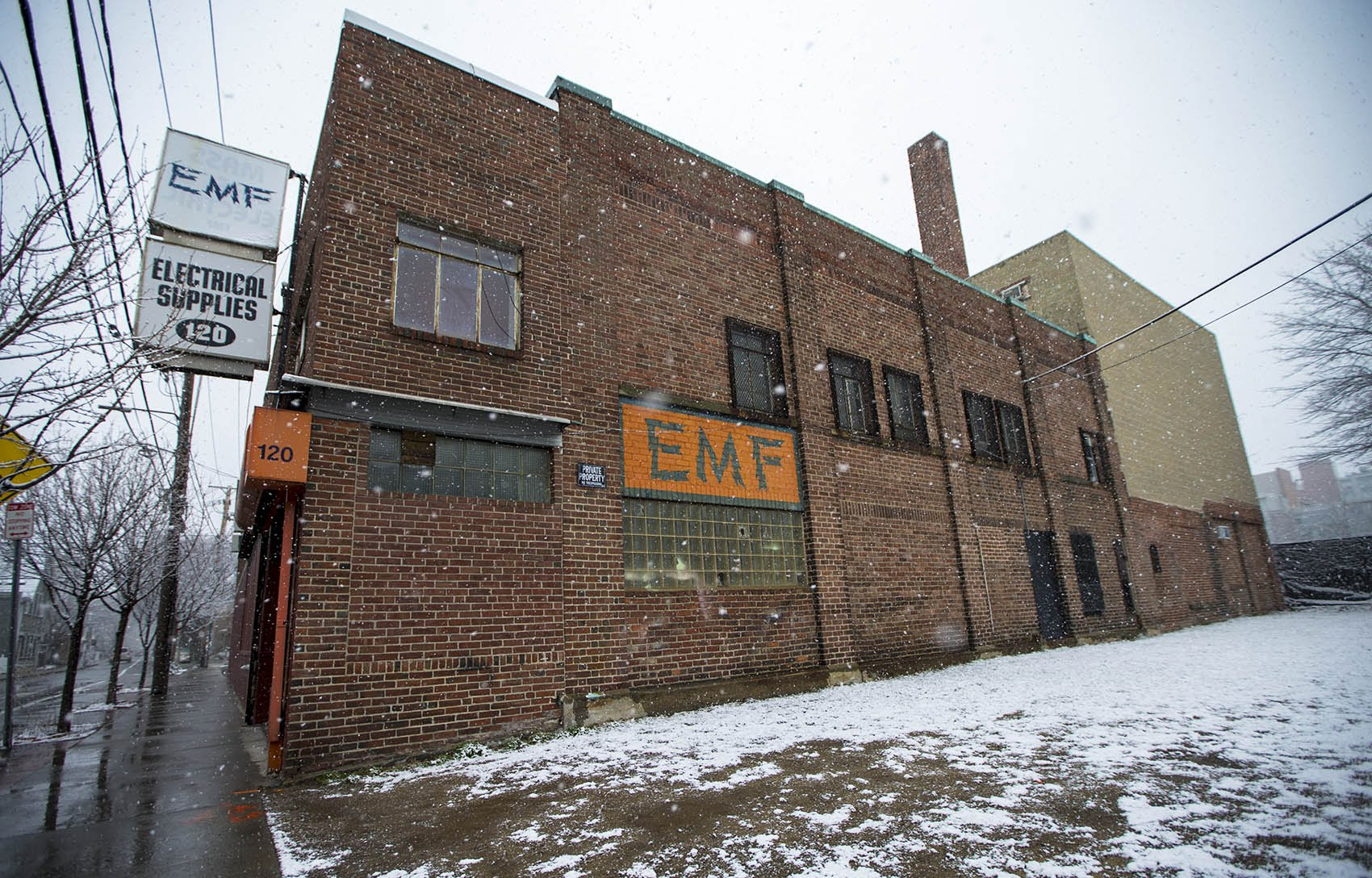 The EMF building on Brookline Street in Cambridge. (Jesse Costa/WBUR)