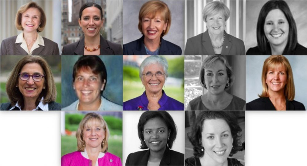 Of the 13 women who served in the Senate in 2017, five (shown in black and white) have either left, plan to leave, or said they won't seek re-election. (SHNS graphic)