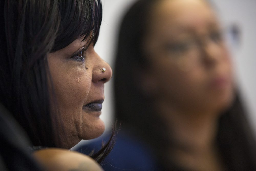 Tears stream down Hope Coleman's face as she discusses the federal civil rights lawsuit against the city of Boston for the fatal shooting of her only son, Terrence Coleman, a 31-year-old black man with a mental health disability. (Jesse Costa/WBUR)