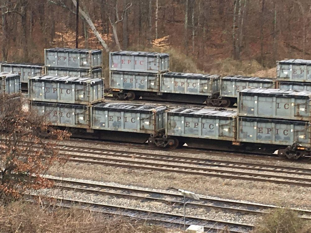Residents in Parrish, Ala., are complaining about the smell of several dozen train cars full of sewage that have been parked in the rail yard there for months while waiting to be transported to a nearby landfill. Here, the train cars of waste are pictured earlier, in the town of West Jefferson. (Courtesy town of West Jefferson)