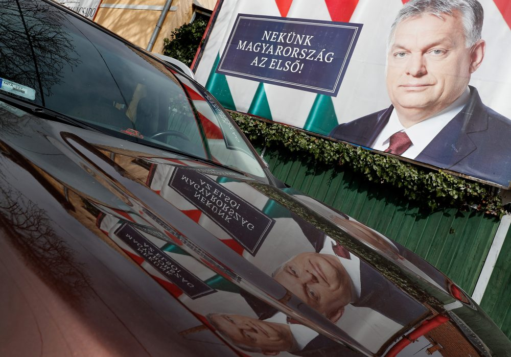 An election poster of the Hungarian Prime Minister Viktor Orban seen on April 4, 2018 in Budapest, Hungary. Hungary will hold a parliamentary election on April 8. (Laszlo Balogh/Getty Images)