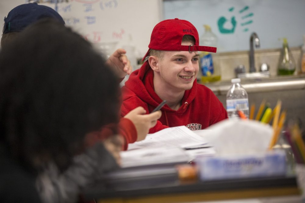 Riley McCabe, 16, has only been attending Independence Academy in Brockton for a few months. (Jesse Costa/WBUR)