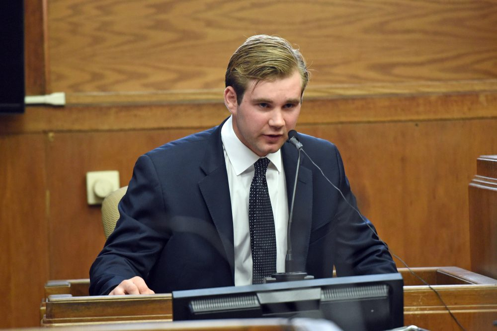Former MIT student Samson Donick speaks in Suffolk Superior Court on Tuesday. (Courtesy Faith Ninivaggi/Boston Herald, via pool)