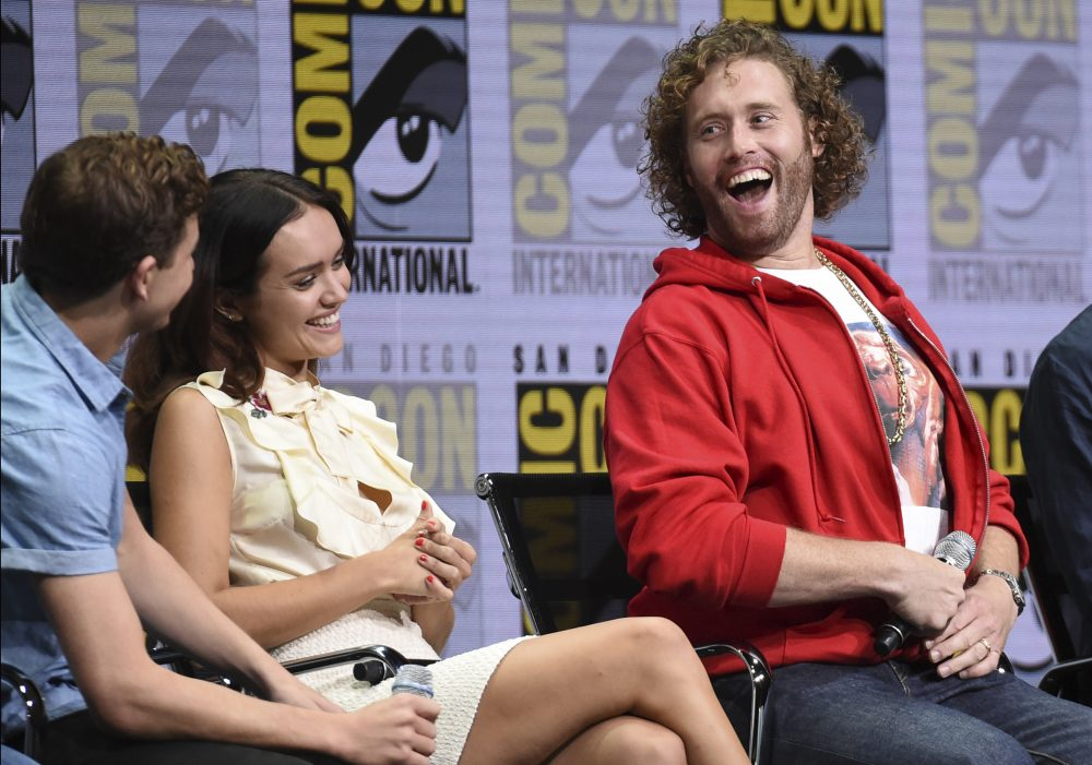 "From left, Tye Sheridan, Olivia Cooke and T.J. Miller attend the Warner Bros. ""Ready Player One"" panel on day three of Comic-Con International on Saturday in 2017 in San Diego. (Richard Shotwell/Invision/AP)"