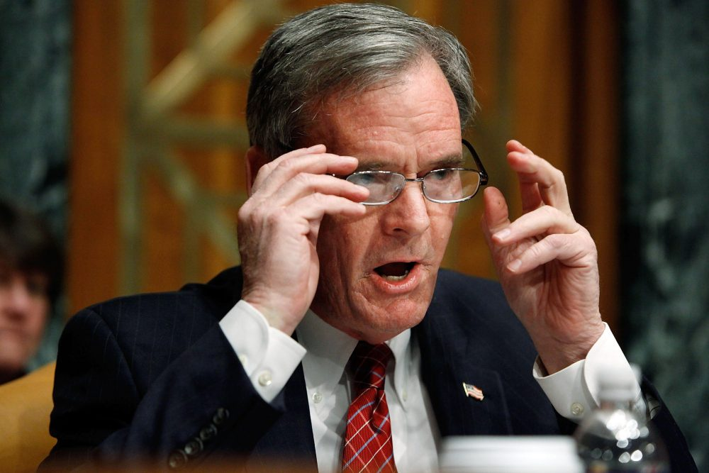 Then-Senate Budget Committee ranking member Sen. Judd Gregg (R-N.H.) raises his voice while questioning White House Office of Management and Budget Director Peter Orszag about the Obama administration's FY2011 budget on Capitol Hill on Feb. 2, 2010 in Washington, D.C. (Chip Somodevilla/Getty Images)
