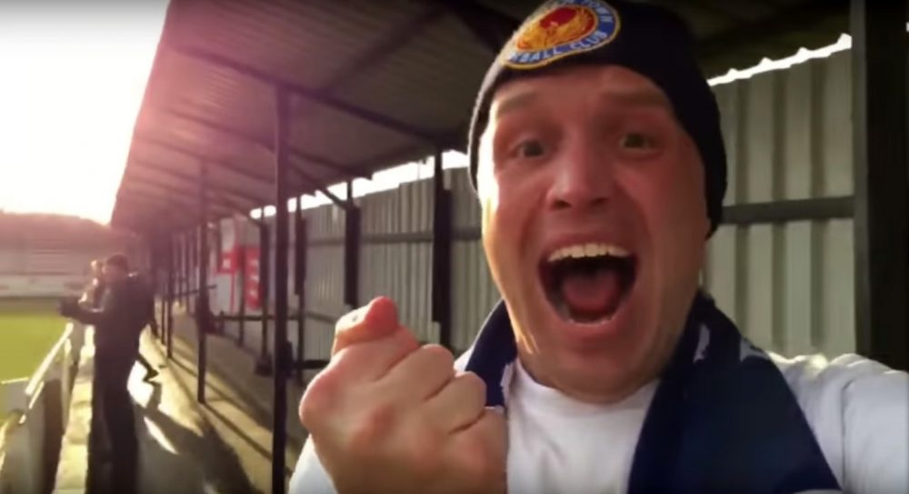 James Beardwell is the most dedicated fan of the Witham Town soccer team. (Screenshot via YouTube)