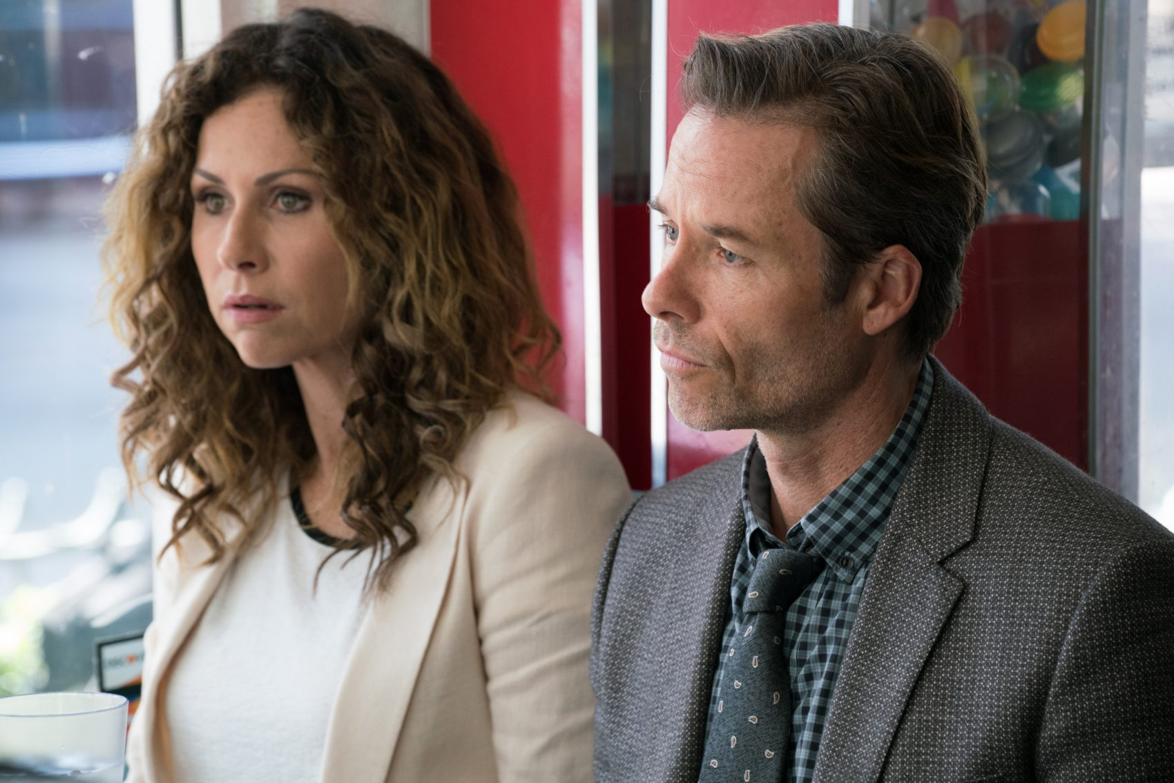 "Minnie Driver as Ellen Birch and Guy Pearce as the professor, Evan Birch, in ""Spinning Man."" (Courtesy Lionsgate)"