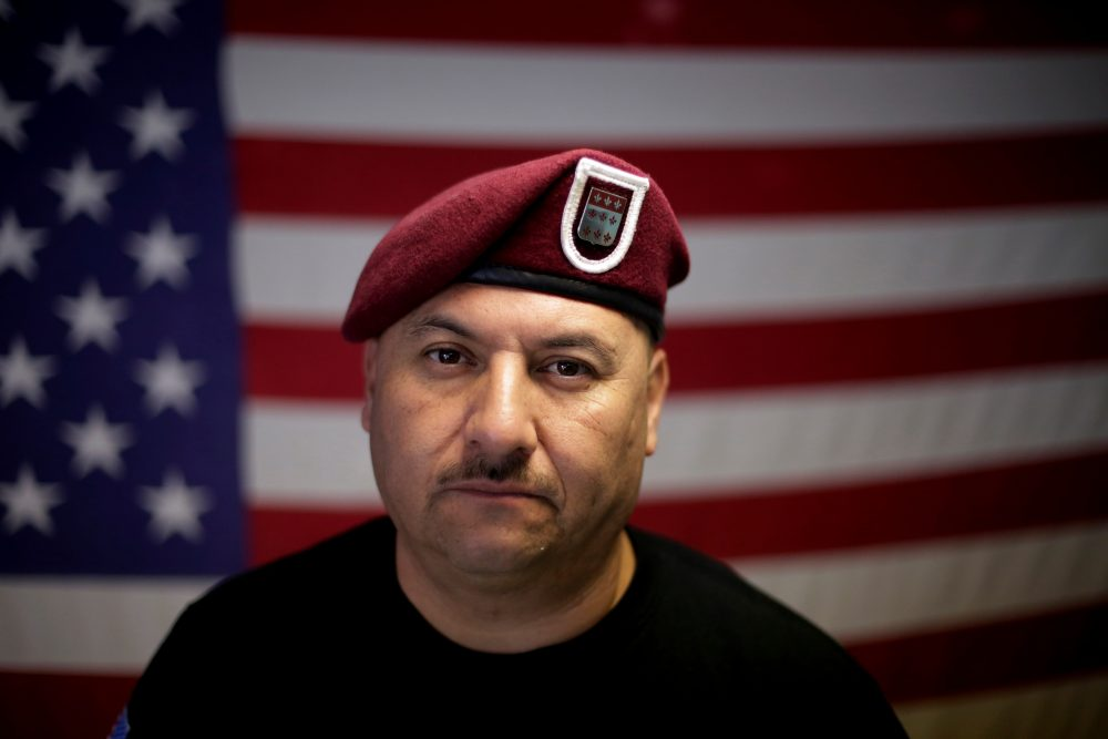 "In this Feb. 13, 2017, file photo, U.S. Army veteran Hector Barajas, who was deported, poses for a portrait in his office at the Deported Veterans Support House, nicknamed ""the bunker"" in Tijuana, Mexico. (Gregory Bull/AP)"