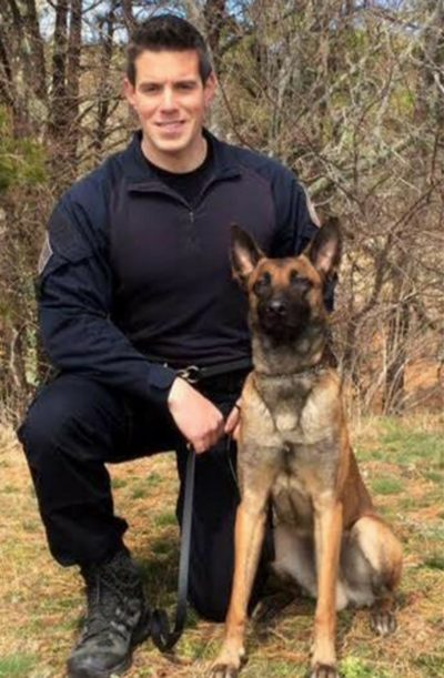 Yarmouth Officer Sean Gannon, who was killed in the line of duty, with his dog, Nero (Courtesy Massachusetts State Police)