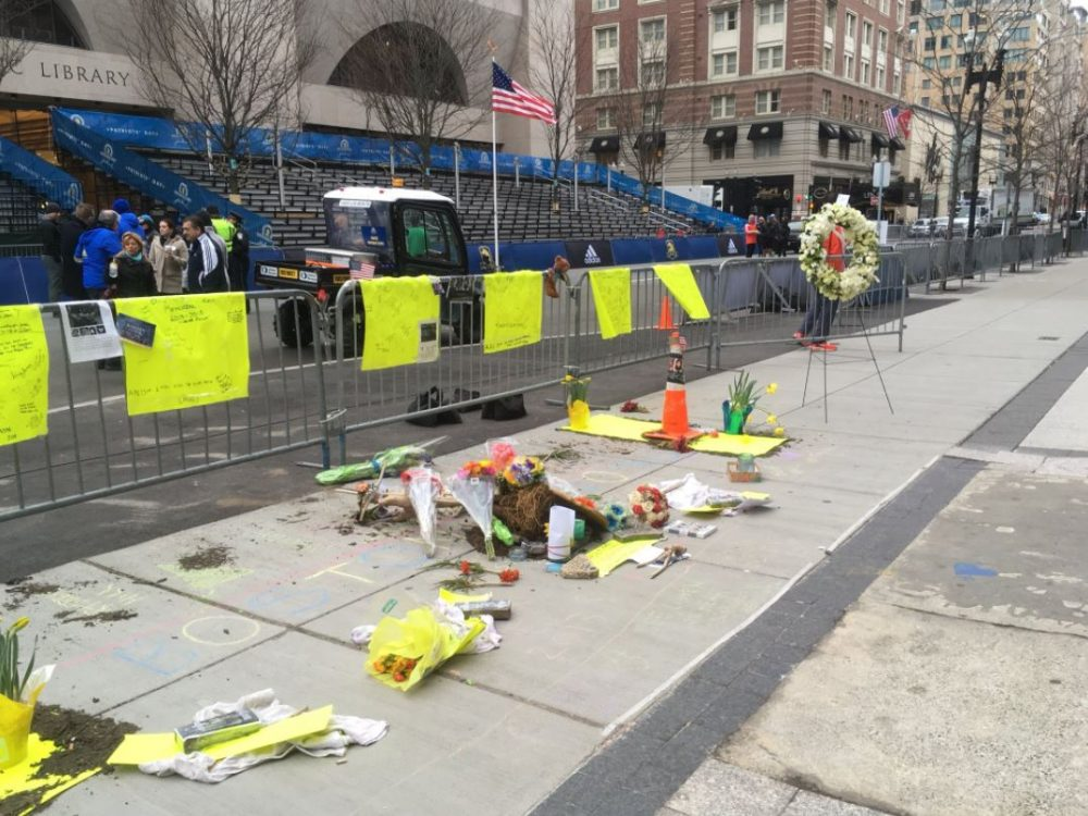 Marking the 5th anniversary of the Boston Marathon bombings on Boylston St. Sunday morning. (Alex Ashlock/WBUR)