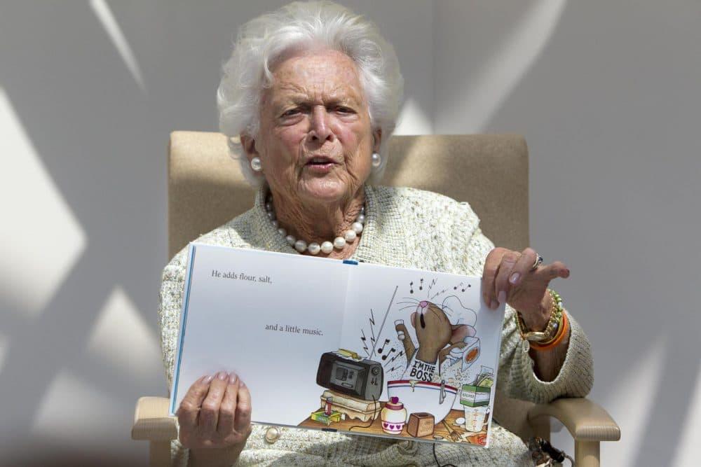 Former first lady Barbara Bush reads to children at the Barbara Bush Children's Hospital in Portland, Maine. (Robert F. Bukaty/AP)