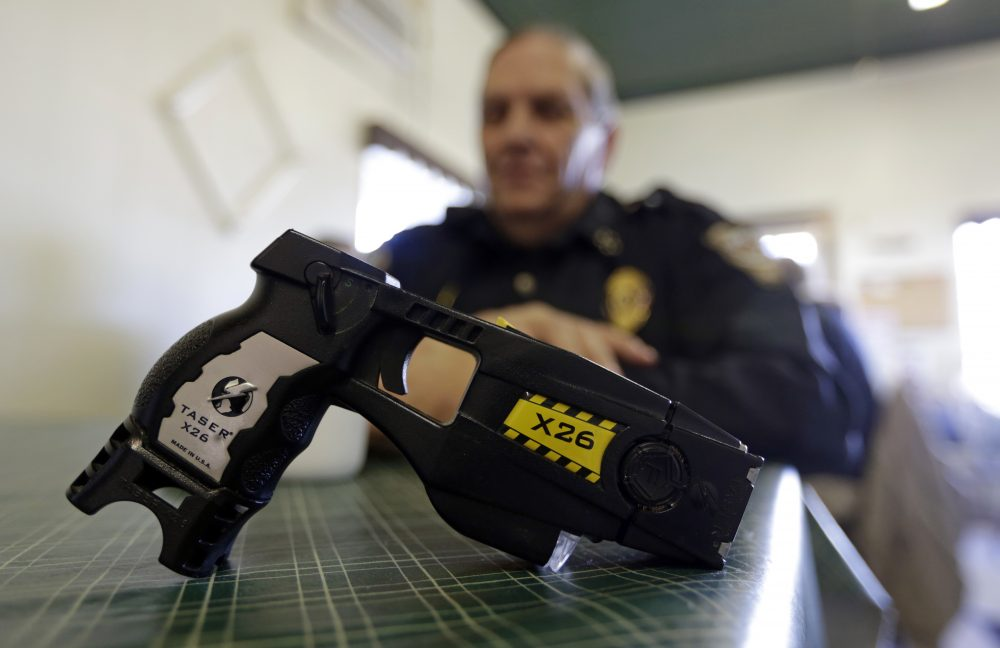 The defendant, Jorge Ramirez, was charged with illegal possession of a stun gun after a traffic stop in Revere in 2015. Under Tuesday's ruling, the charge of illegal possession of a stun gun against Ramirez will be dismissed. (Michael Conroy/AP, file)