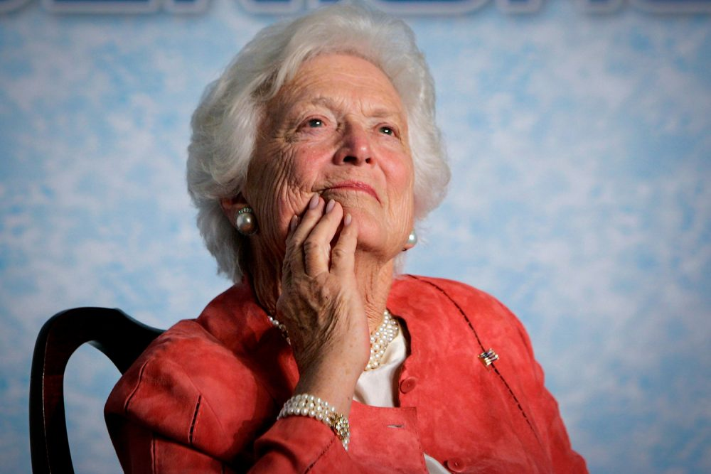 In this file photo from Friday, March 18, 2005, former first lady Barbara Bush listens to her son, President George W. Bush, as he speaks on Social Security reform in Orlando, Fla. (J. Scott Applewhite/AP)