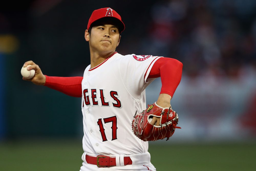 Shohei Ohtani of the Los Angeles Angels of Anaheim pitches during the first inning of a game against the Boston Red Sox at Angel Stadium on April 17, 2018 in Anaheim, Calif. (Sean M. Haffey/Getty Images)