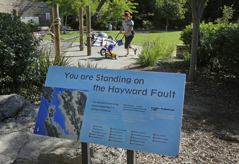 In this 2016 photo, a sign notifying people they are standing on the Hayward Fault stands at the children's zoo area at the Oakland Zoo in Oakland, Calif. (Ben Margot/AP)