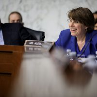 Sen. Amy Klobuchar (D-Minn.) questions witnesses during a hearing about the massacre at Marjory Stoneman Douglas High School in the Hart Senate Office Building on Capitol Hill on March 14, 2018 in Washington, D.C. (Chip Somodevilla/Getty Images)