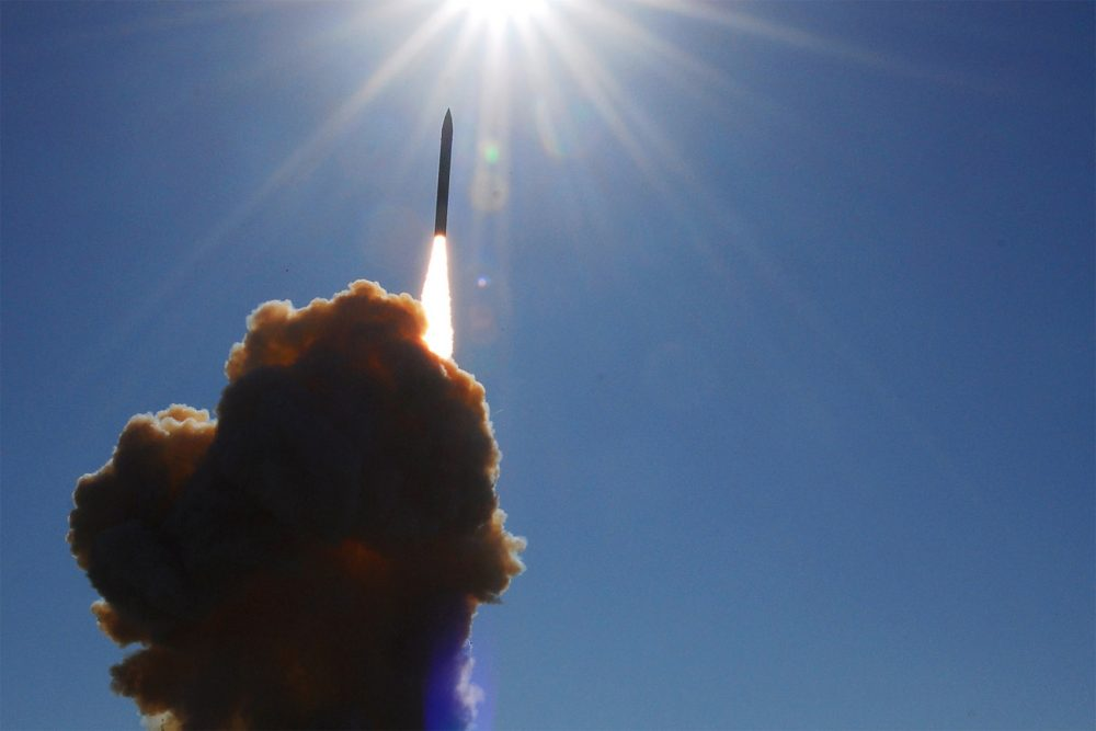 A ground-based interceptor missile lifts off from Vandenberg Air Force Base in California, as part of a test of the Ballistic Missile Defense System. (Courtesy Joe Davila/U.S. Air Force)