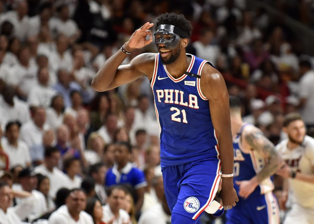 Joel Embiid and the Philadelphia 76ers took a 2-1 series lead over the Miami Heat with a 128-108 win Thursday. (Eric Espada/Getty Images)