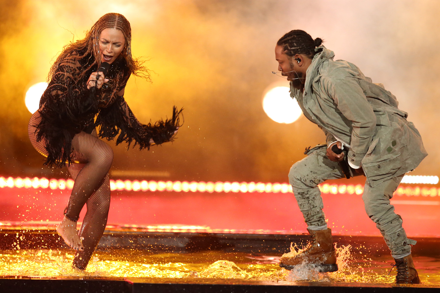 "Beyoncé, left, and Kendrick Lamar perform ""Freedom"" at the BET Awards at the Microsoft Theater on Sunday, June 26, 2016, in Los Angeles. (Matt Sayles/AP)"