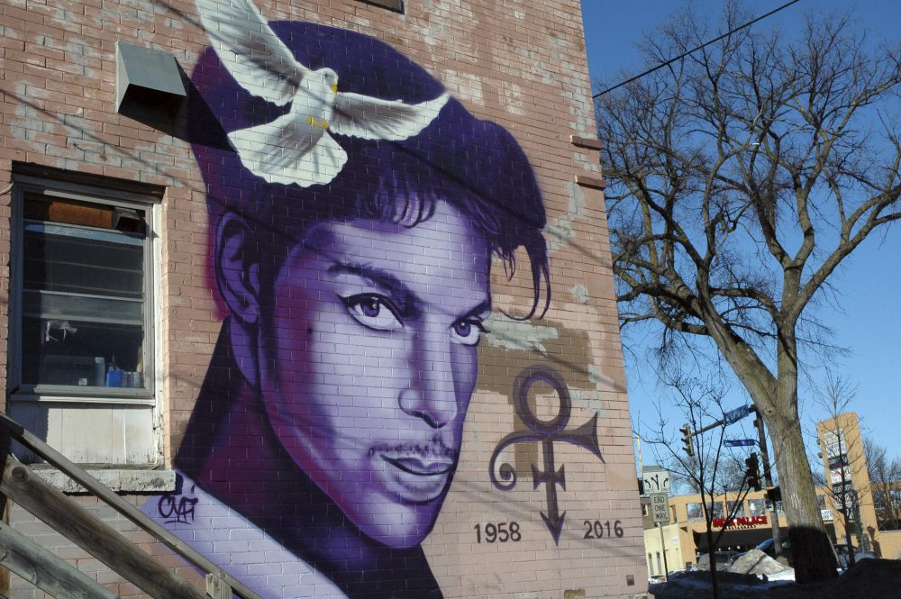 In this Jan. 29, 2018 photo, a painting of the late Prince is shown on a Minneapolis building. (Jeff Baenen/AP)