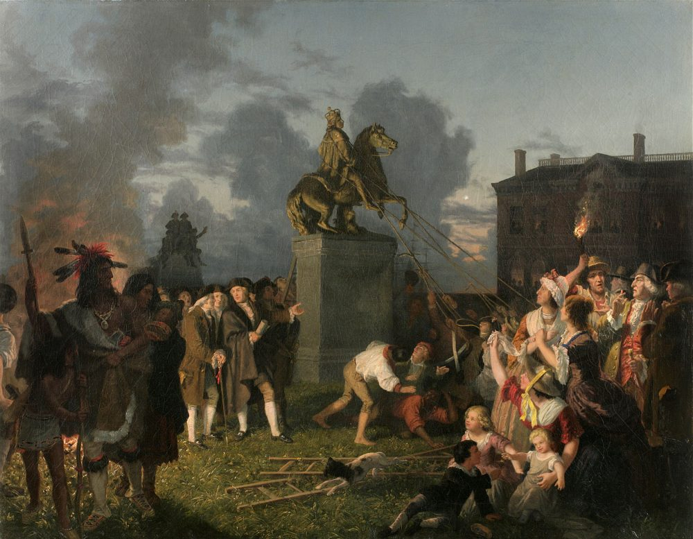 One of the pieces of art featured in The Citizenship Project: Johannes Adam Simon Oertel, Pulling Down the Statue of King George III, New York City, 1852-53. (Courtesy New York Historical Society)