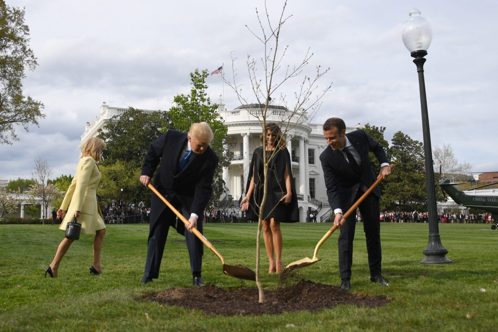 President Trump and first lady Melania Trump participate in a tree-planting ceremony with French President Emmanuel Macron and his wife Brigitte Macron on the South Lawn of the White House in Washington, D.C., on April 23, 2018. (Jim Watson/AFP/Getty Images)