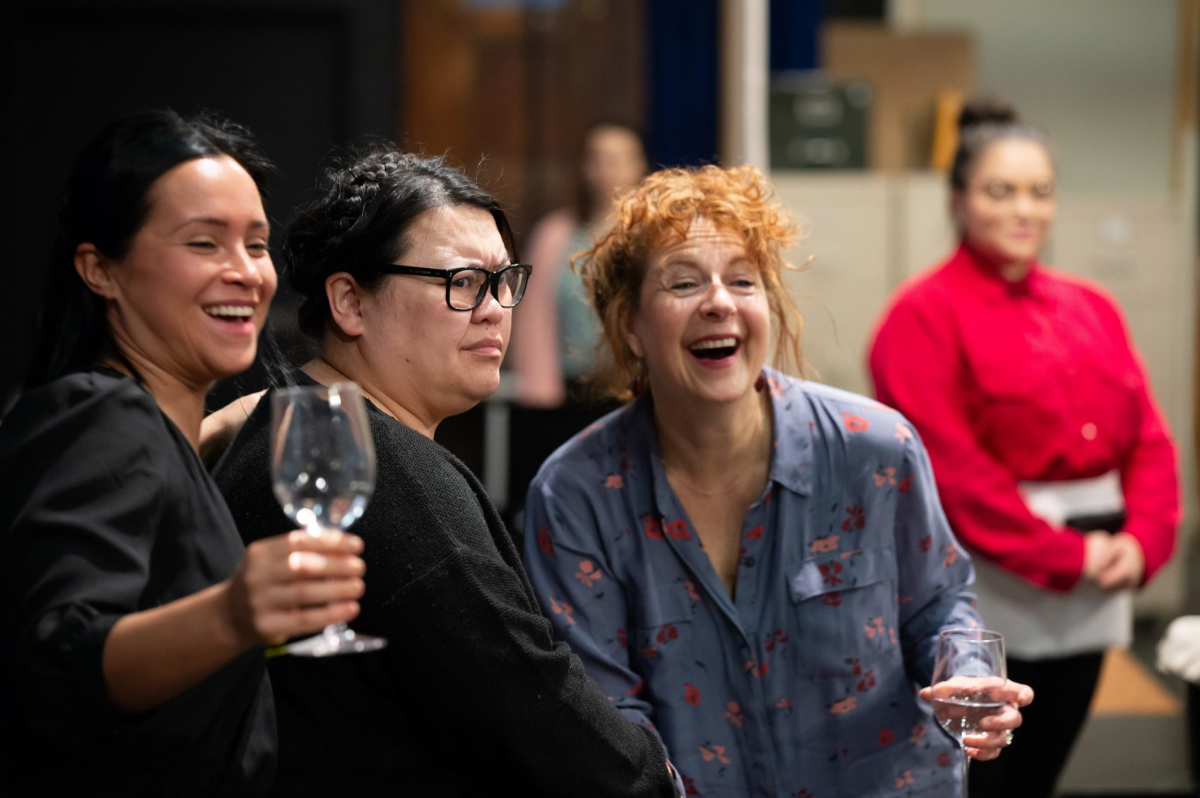 "Carmen Zilles, Carmen M. Herlihy, Paula Plum and Kiara Pichardo during a rehearsal for ""Top Girls."" (Courtesy Mike Ritter/Huntington Theatre Company)"