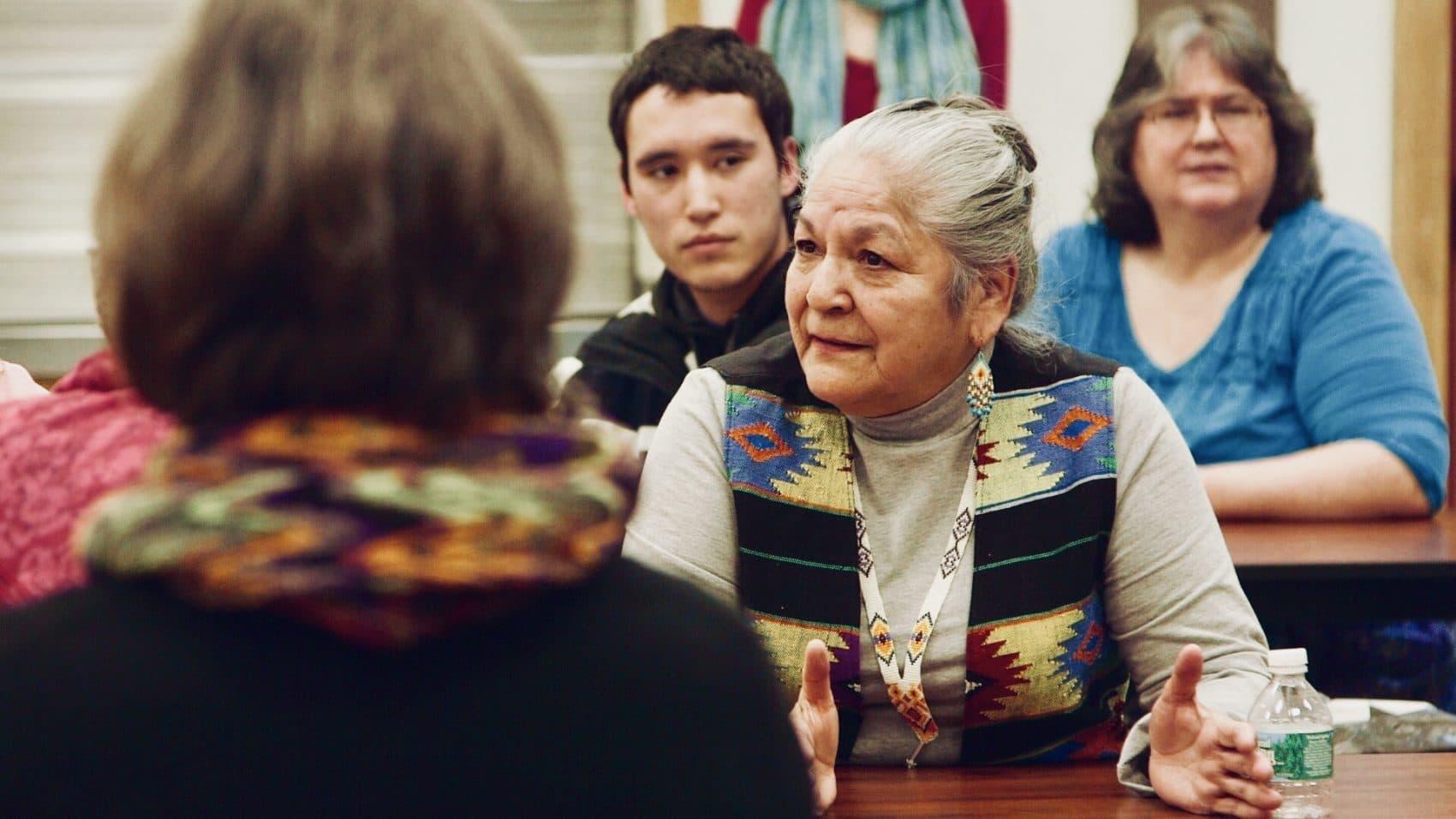 Georginia Sappier-Richardson sharing her story at a TRC community visit. (Courtesy Ben Pender-Cudlip/Upstander Project)