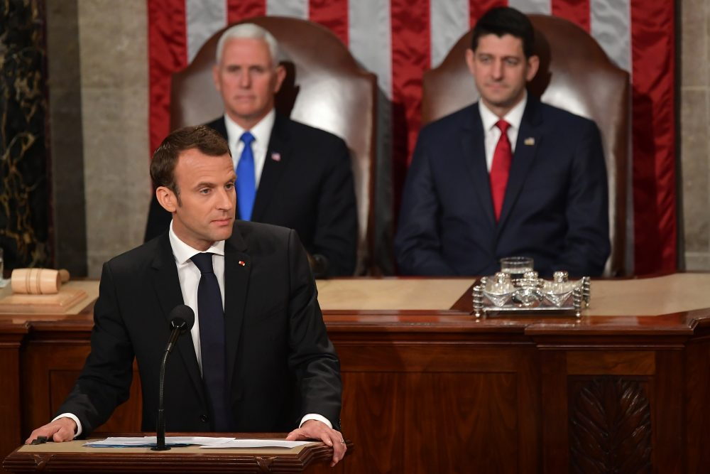 France's President Emmanuel Macron addresses a joint meeting of Congress inside the House chamber on April 25, 2018 at the Capitol in Washington, D.C. (Mandel Ngan/AFP/Getty Images)