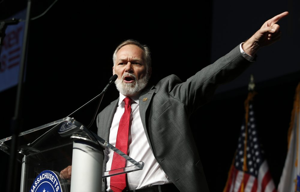 Republican candidate for governor Scott Lively addresses the Massachusetts Republican Convention at the DCU Center in Worcester, Mass., Saturday, April 28, 2018. (Winslow Townson/AP)