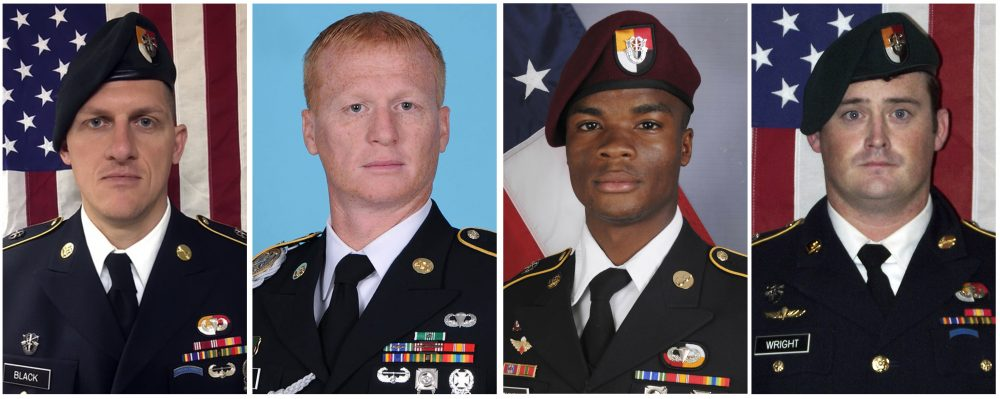 These images provided by the U.S. Army show, from left, Staff Sgt. Bryan C. Black, 35, of Puyallup, Wash.; Staff Sgt. Jeremiah W. Johnson, 39, of Springboro, Ohio; Sgt. La David Johnson of Miami Gardens, Fla.; and Staff Sgt. Dustin M. Wright, 29, of Lyons, Ga. All four were killed in Niger, when a joint patrol of American and Niger forces was ambushed by militants believed linked to the Islamic State group. A military investigation into the Niger attack that killed four American service members concludes the team didn't get required senior command approval for their risky mission to capture a high-level Islamic State militant, several U.S. officials familiar with the report said. It doesn't point to that failure as a cause of the deadly ambush. (U.S. Army via AP)