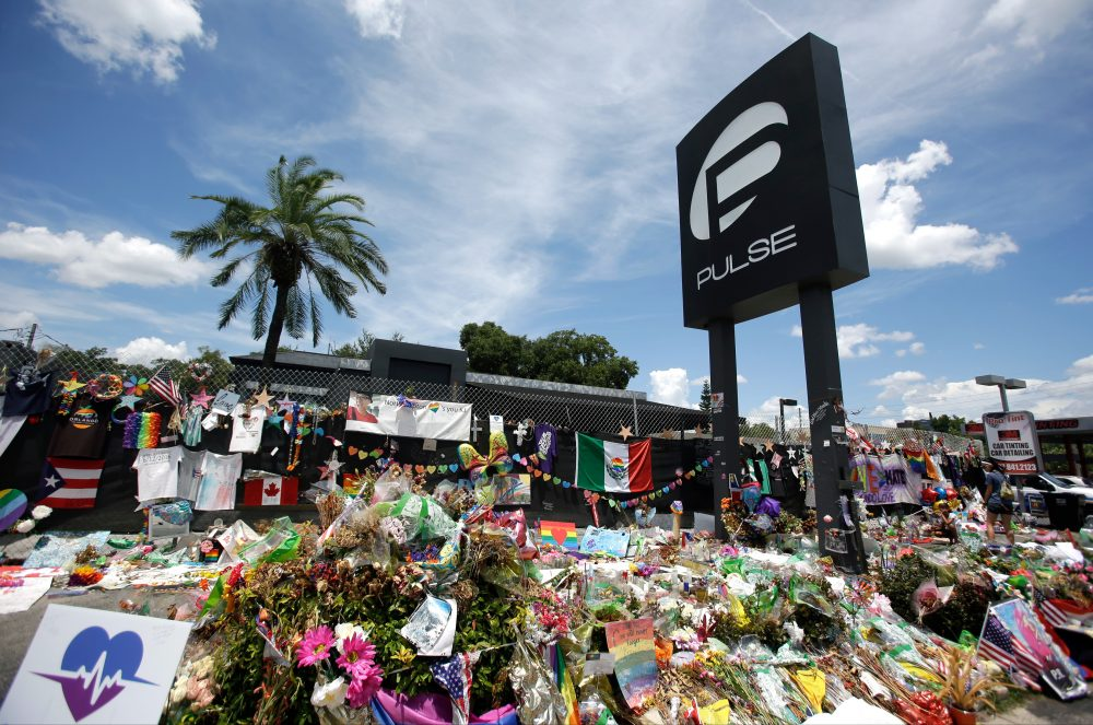 This 2016 photo shows a makeshift memorial outside the Pulse nightclub, a month after the mass shooting in Orlando. (John Raoux/AP)
