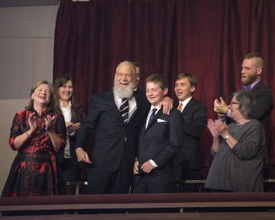 David Letterman is honored with the Mark Twain Prize for American Humor at the Kennedy Center for the Performing Arts on Sunday, Oct. 22, 2017, in Washington. (Photo by Owen Sweeney/Invision/AP)