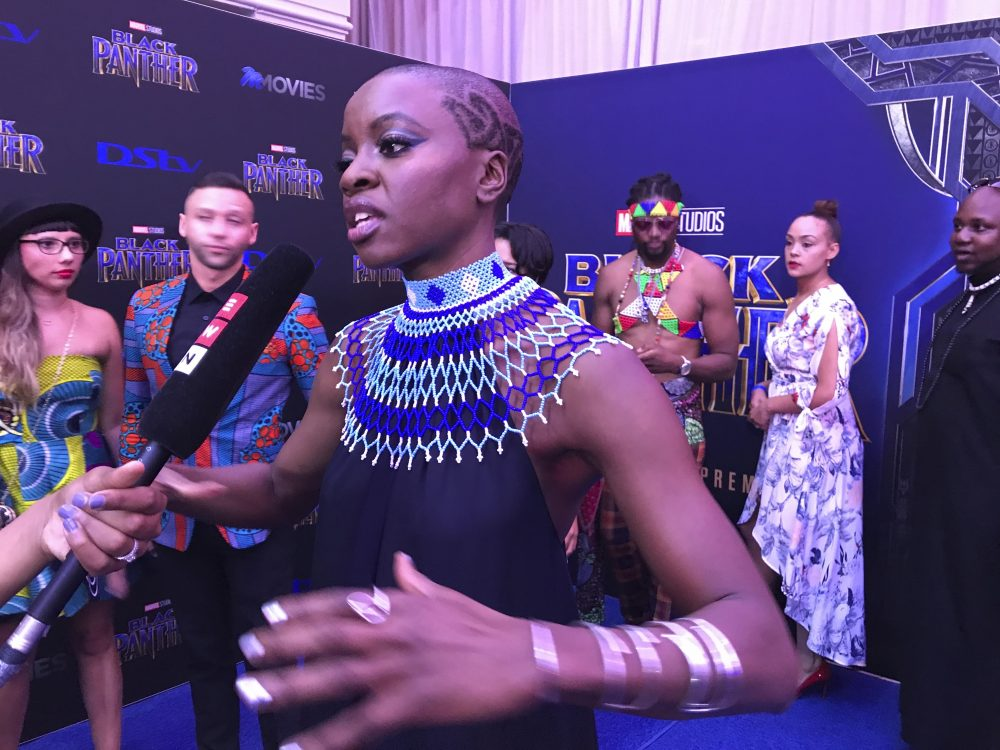 "Danai Gurira speaks as the cast of ""Black Panther"" arrives at the South Africa premiere on Feb. 16 in Johannesburg. (Cara Anna/AP)"