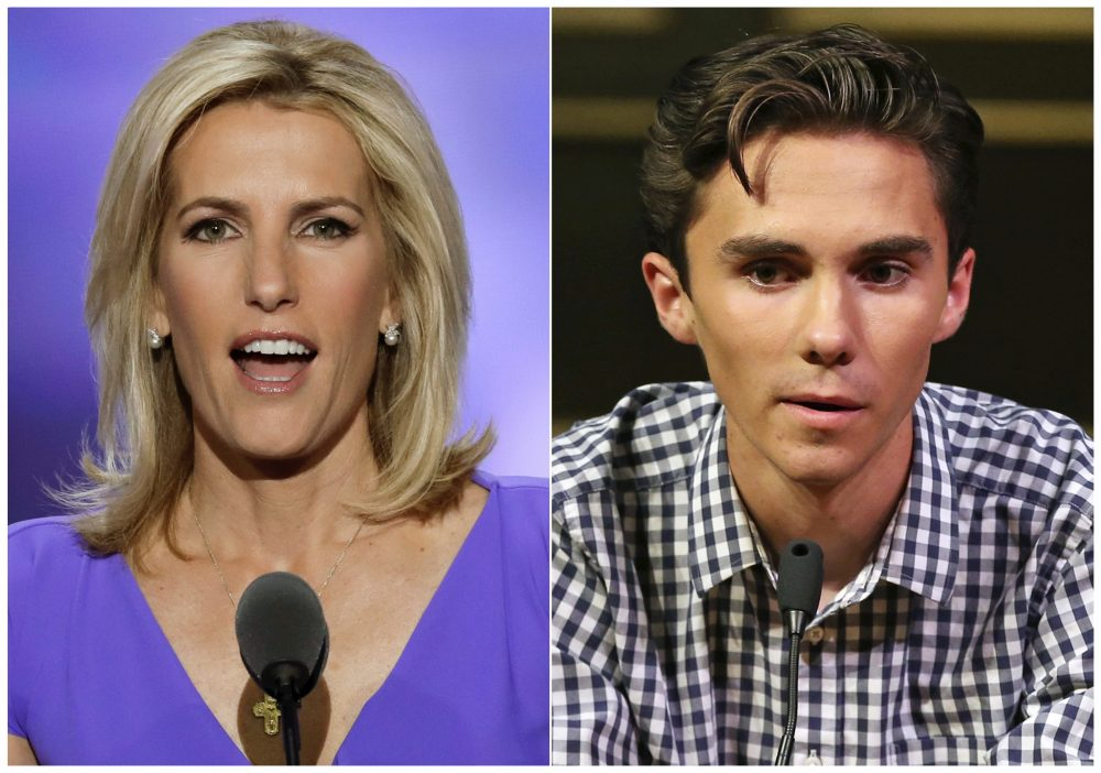 In this combination photo, Fox News personality Laura Ingraham speaks at the Republican National Convention in Cleveland on July 20, 2016, left, and David Hogg, a student survivor from Marjory Stoneman Douglas High School in Parkland, Fla., speaks at a rally for common sense gun legislation in Livingston, N.J. on  Feb. 25, 2018. Some big name advertisers are dropping Ingraham after she publicly criticized Hogg, a student at Marjory Stoneman Douglas school on social media.   (J. Scott Applewhite/AP, left, and Rich Schultz/AP)