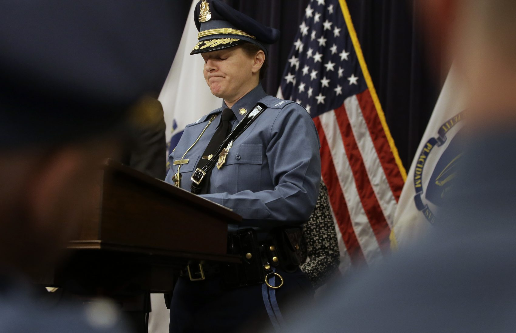 Massachusetts State Police Col. Kerry Gilpin faces reporters during a news conference April 2 at the State House. (Steven Senne/AP)