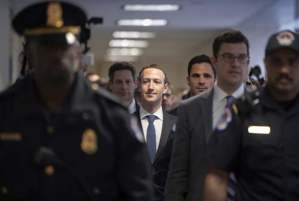 Facebook CEO Mark Zuckerberg arrives on Capitol Hill in Washington, Monday, April 9, 2018, to meet with Sen. Dianne Feinstein, D-Calif., the ranking member of the Senate Judiciary Committee. Zuckerberg will testify Tuesday before a joint hearing of the Commerce and Judiciary Committees about the use of Facebook data to target American voters in the 2016 election. (J. Scott Applewhite/AP)