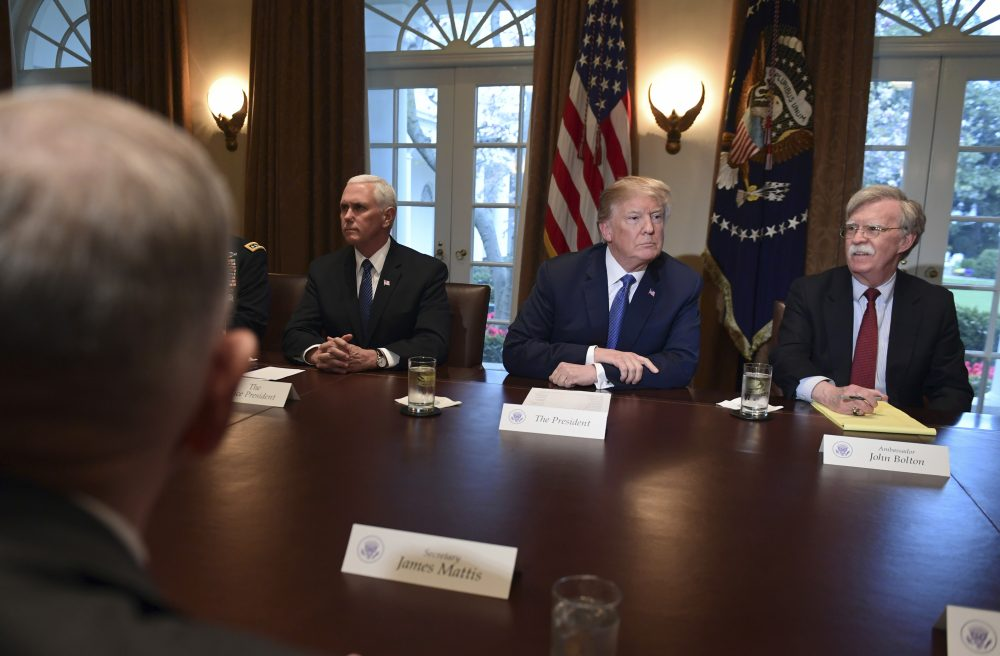 President Trump, second from right, speaks in the Cabinet Room of the White House Monday, at the start of a meeting with military leaders, with Defense Secretary Jim Mattis, left, Vice President Mike Pence and national security adviser John Bolton. (Susan Walsh/AP)
