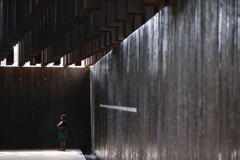 This photo shows part of the display at the National Memorial for Peace and Justice, a new memorial to honor thousands of people killed in lynchings, Monday, April 23, 2018, in Montgomery, Ala. The memorial and an accompanying museum that open this week in Montgomery are a project of the nonprofit Equal Justice Initiative, a legal advocacy group in Montgomery. (Brynn Anderson/AP)
