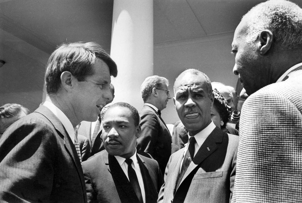 Attorney General Robert F. Kennedy talks with civil rights leaders, including the Rev. Martin Luther King Jr., at the White House on June 22, 1963. (Bob Schutz/AP)