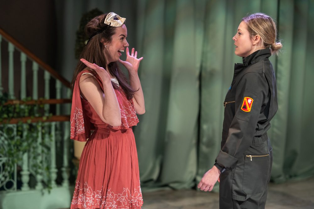 "Lydia Barnett-Mulligan as Hero and Esme Allen as Claudio in ""Much Ado About Nothing."" (Courtesy Nile Scott Shots)"