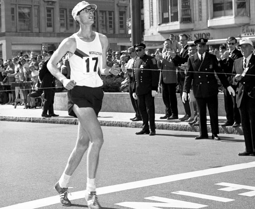 Amby Burfoot wins the Boston Marathon in 1968. (Photo by Jeff Johnson)