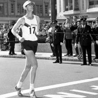 Amby Burfoot wins the Boston Marathon in 1968. (Photo by Jeff Johnson)