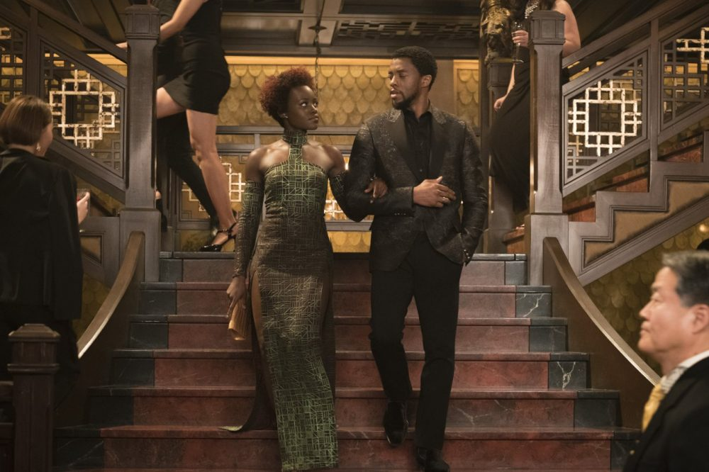 This image released by Disney-Marvel Studios shows, from left, Lupita Nyong'o and Chadwick Boseman in a scene from