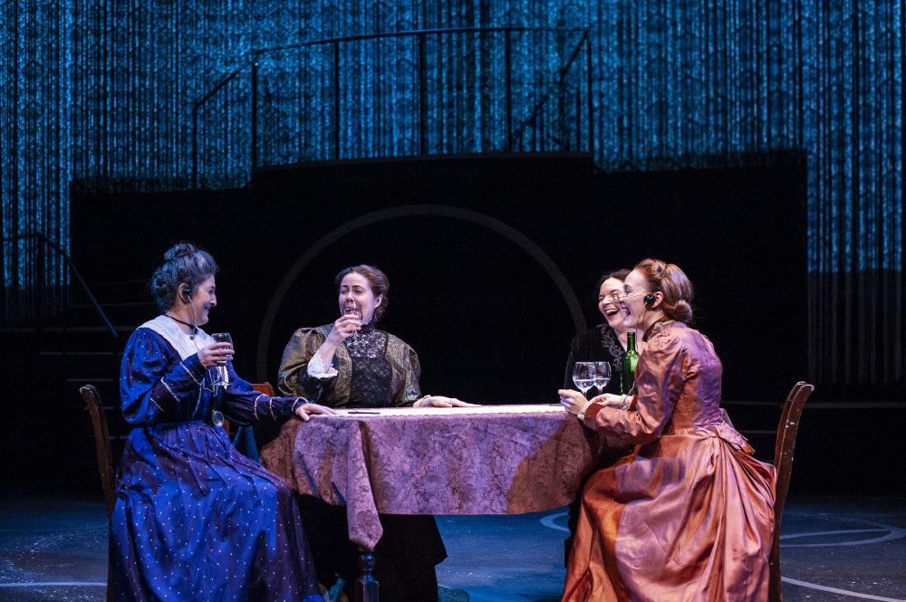 "Left to right, Sarah Newhouse as Annie Jump Cannon, Christine Power as Antonia Maury, Becca A. Lewis as Williamina Fleming and Sarah Oakes Muirhead as Henrietta Swan Leavitt in ""The Women Who Mapped the Stars."" (Courtesy A.R. Sinclair Photography)"