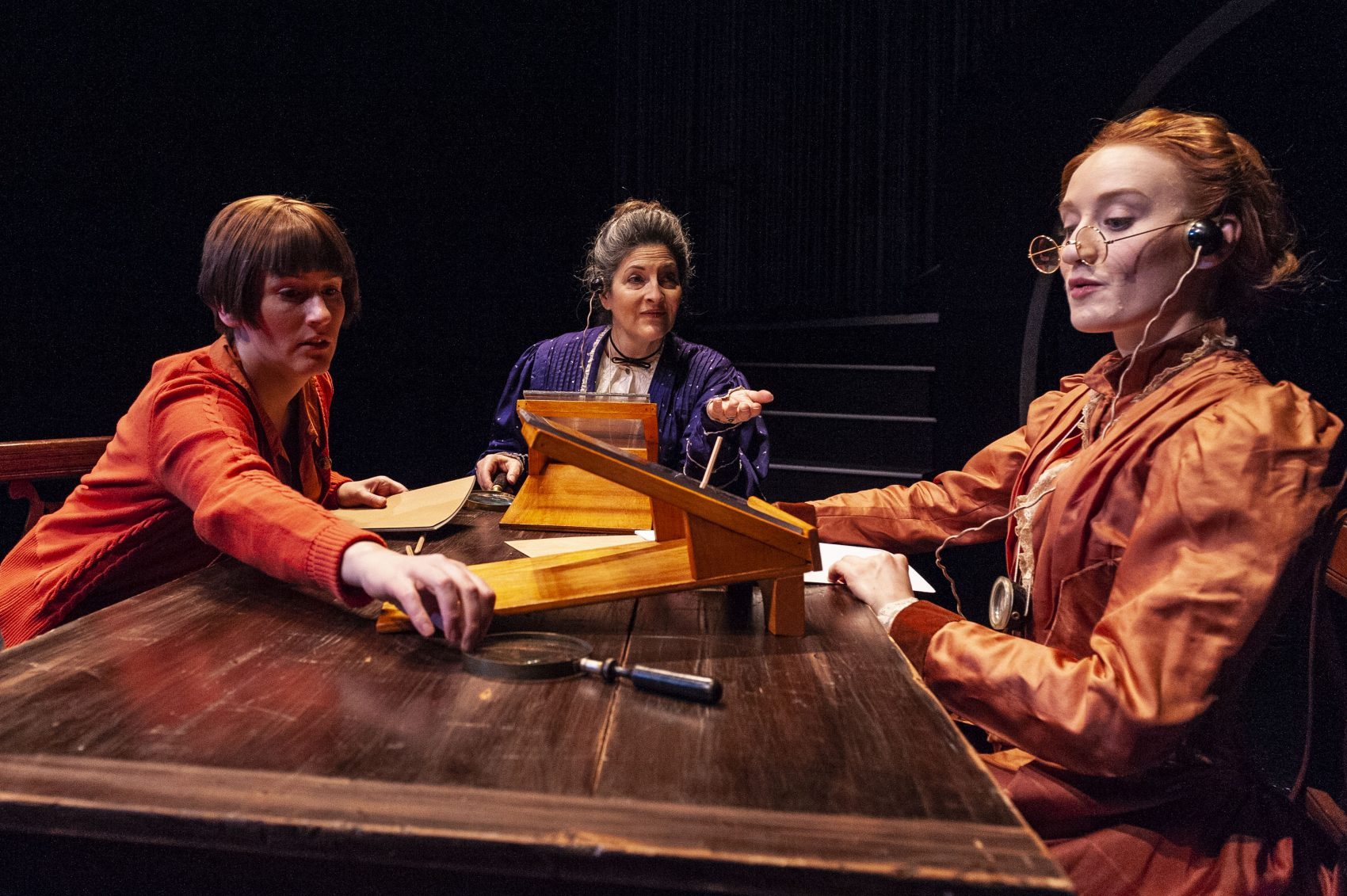 "Amanda Collins as Cecilia Payne, Sarah Newhouse as Annie Jump Cannon and Sarah Oakes Muirhead as Henrietta Swan Leavitt in ""The Women Who Mapped the Stars."" (Courtesy A.R. Sinclair Photography)"