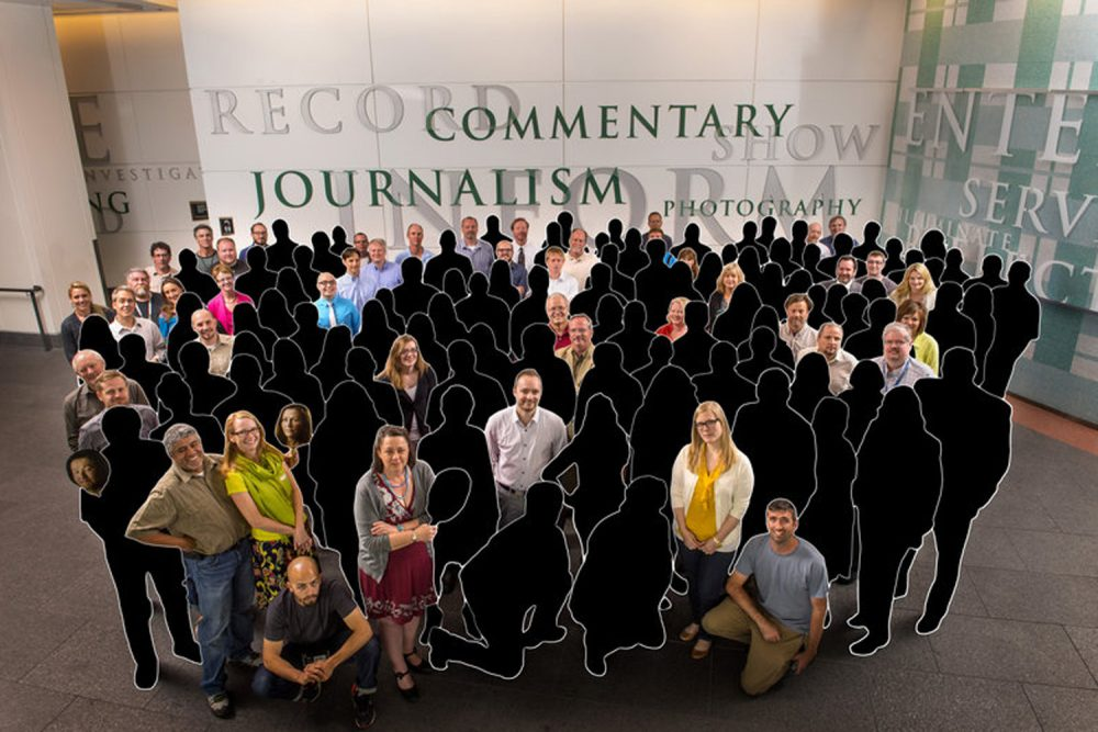A photo illustration shows how many people have left the Denver Post since it won a Pulitzer Prize after the 2012 Aurora, Colorado theater shooting. (RJ Sangosti/Katie Wood/The Denver Post)