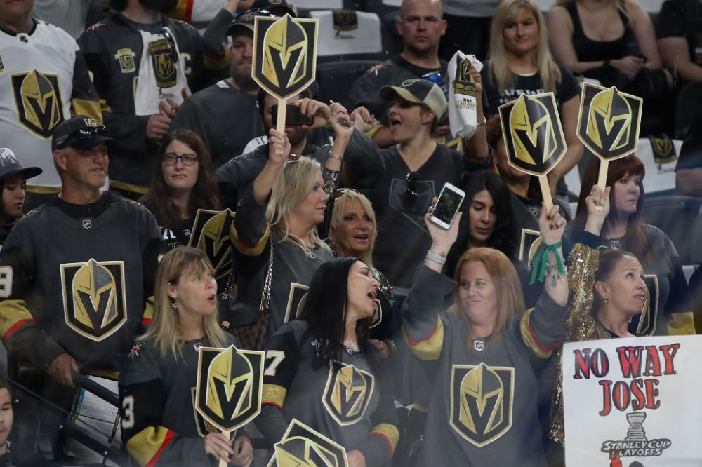 Fans of the Vegas Golden Knights cheer their team before Game 1 of the Knights' second round series against the San Jose Sharks. (Christian Petersen/Getty Images)